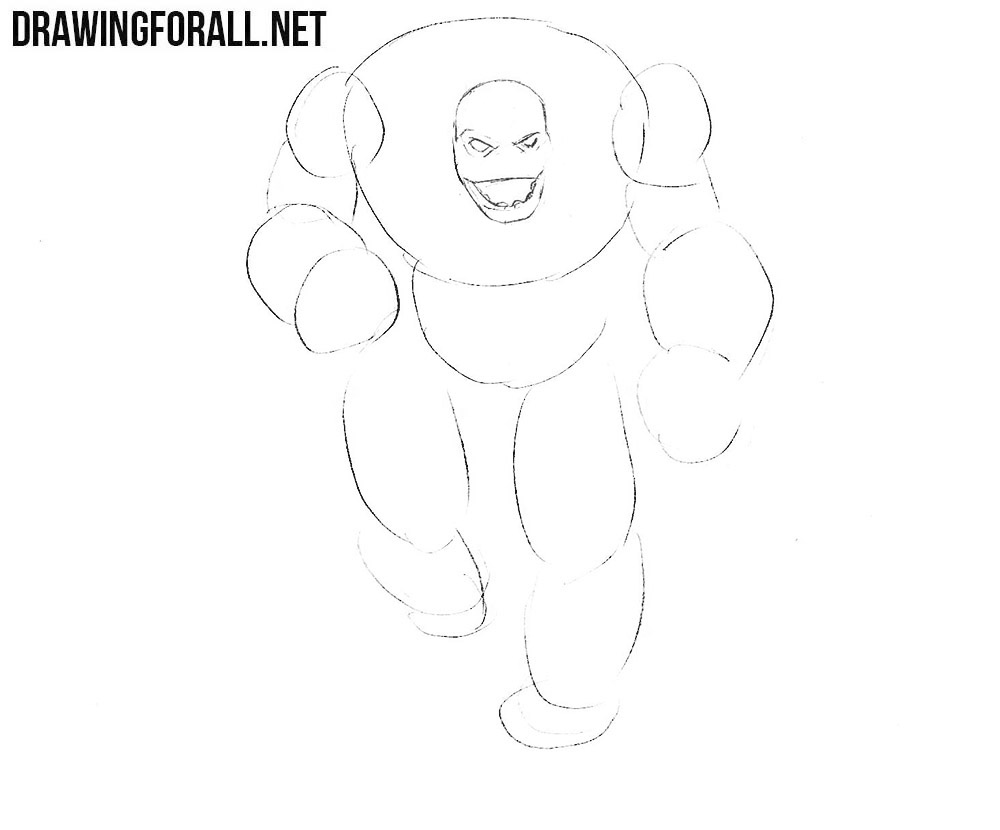 how to draw a Stone Golem from dungeons and drawgons