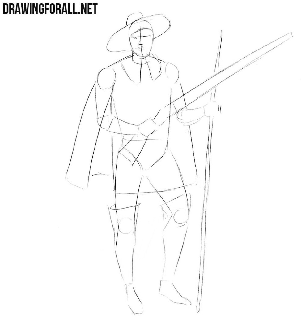 how to draw a musketeer step by step