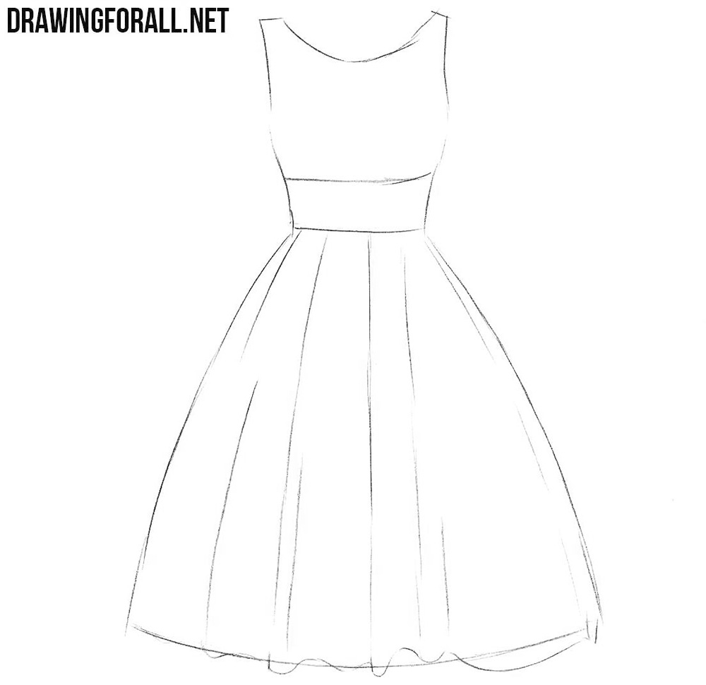 how to draw a dress step by step for beginners