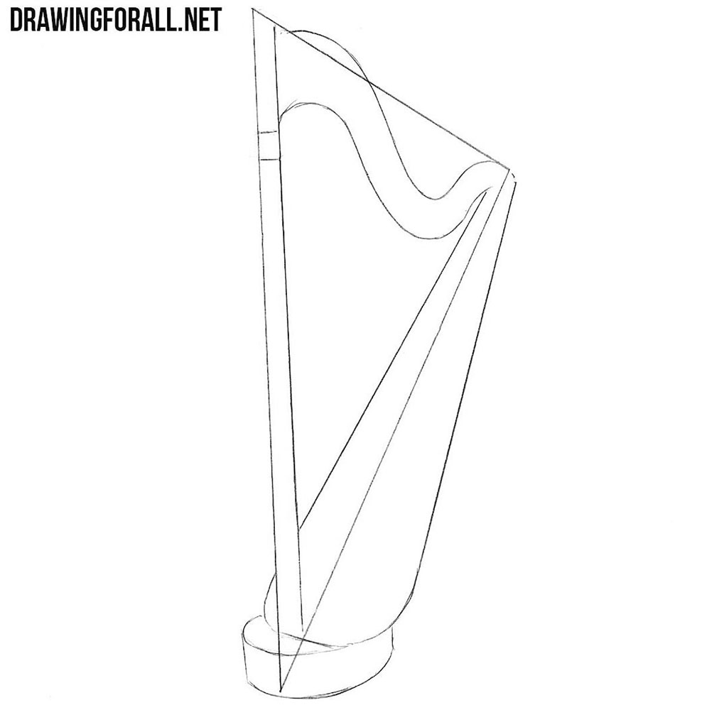 learn to draw a harp with a pencil