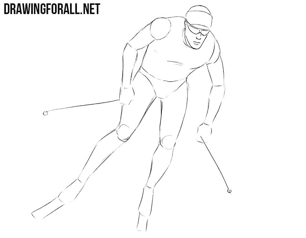 How to draw a skier on skis