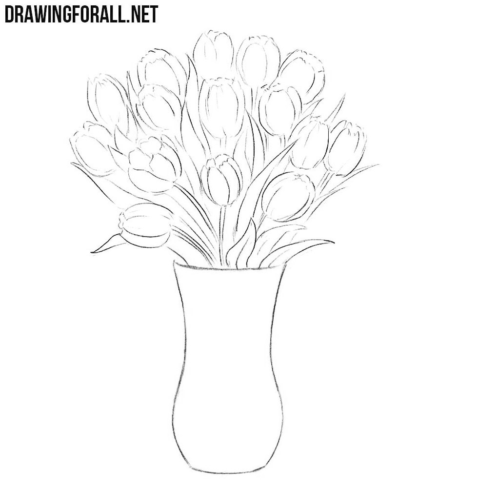 How To Draw Flowers In A Vase Drawingforall Net