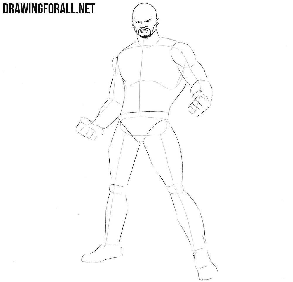 how to draw Luke Cage step by step