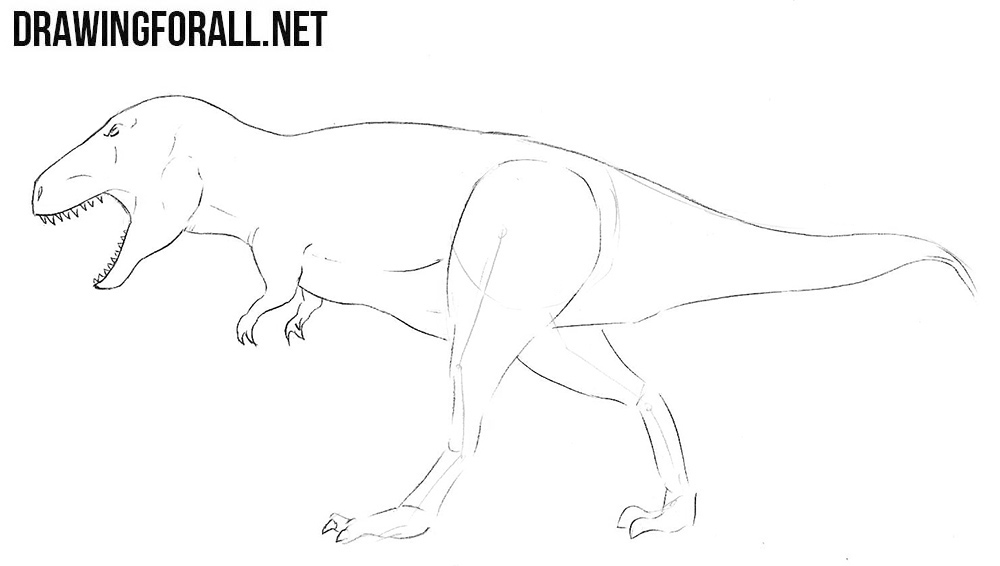 how to draw a Tyrannosaurus step by step
