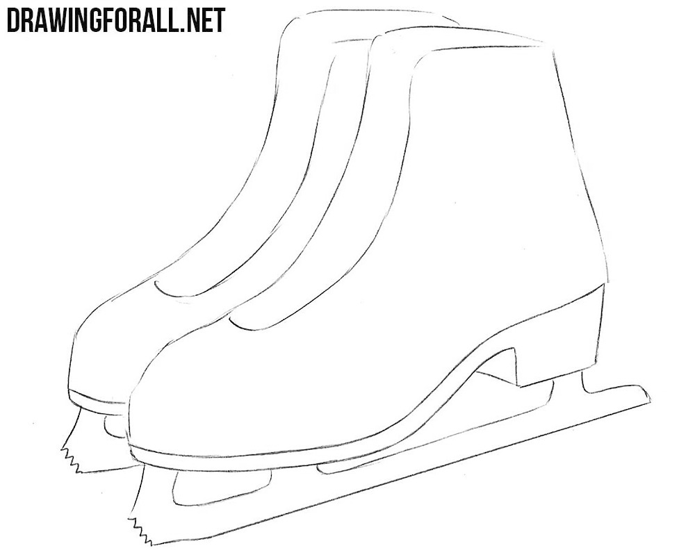 how to draw figure ice skates step by step