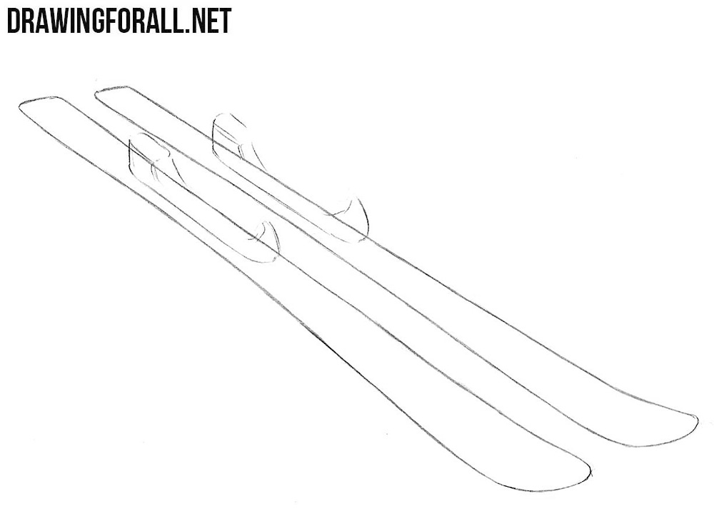 how to draw skis easy