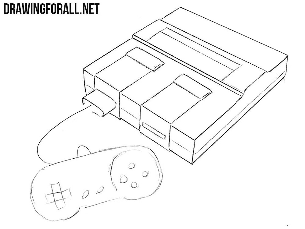 learn to draw a Super Nintendo step by step