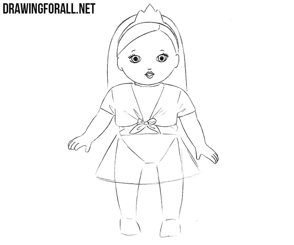 How to draw a doll  step by step