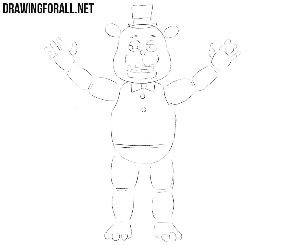 How to sketch Freddy Fazbear