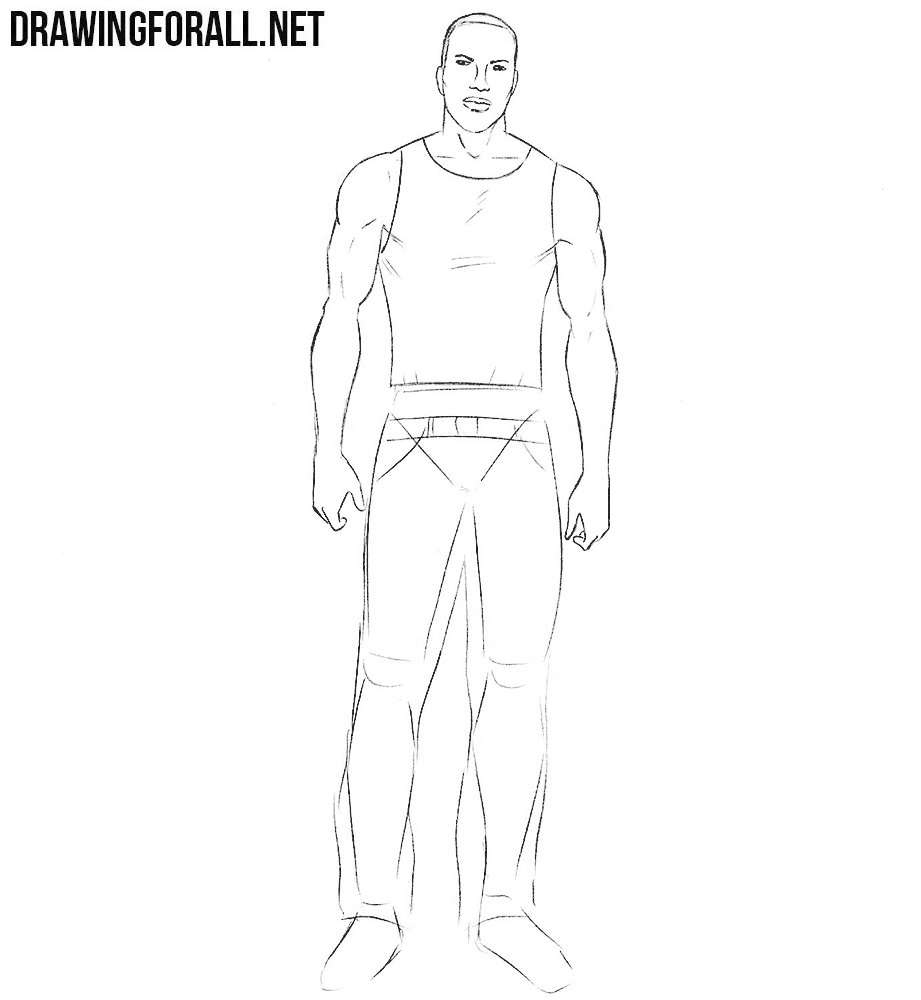 how to draw Carl Johnson from gta