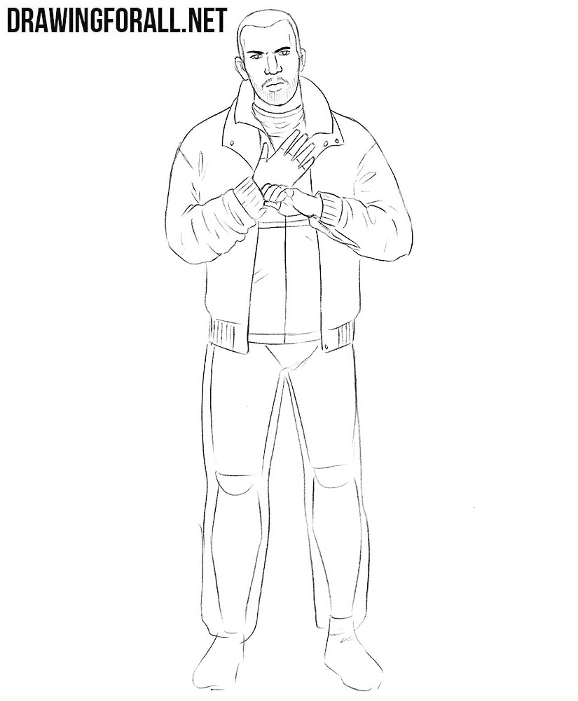 how to draw Niko Bellic