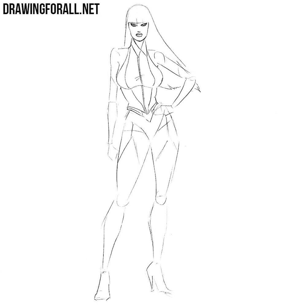how to draw Silk Spectre from watchmen