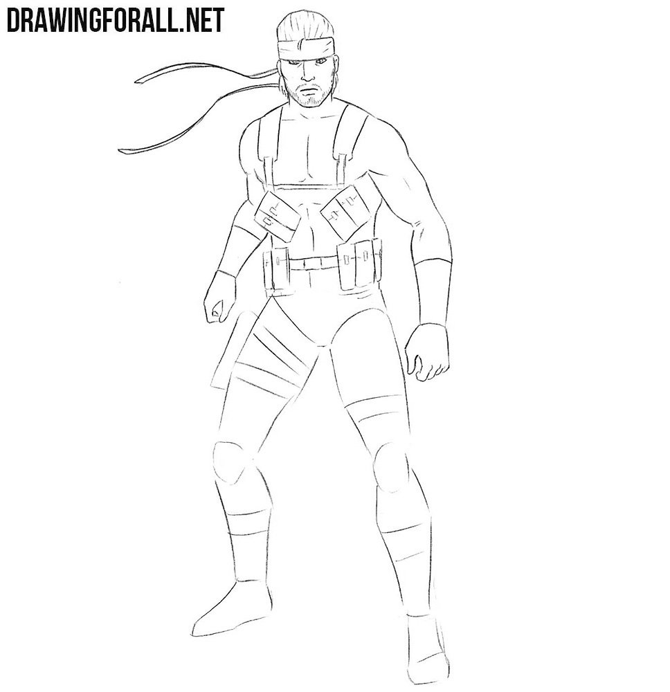 how to draw Solid Snake from metal gear