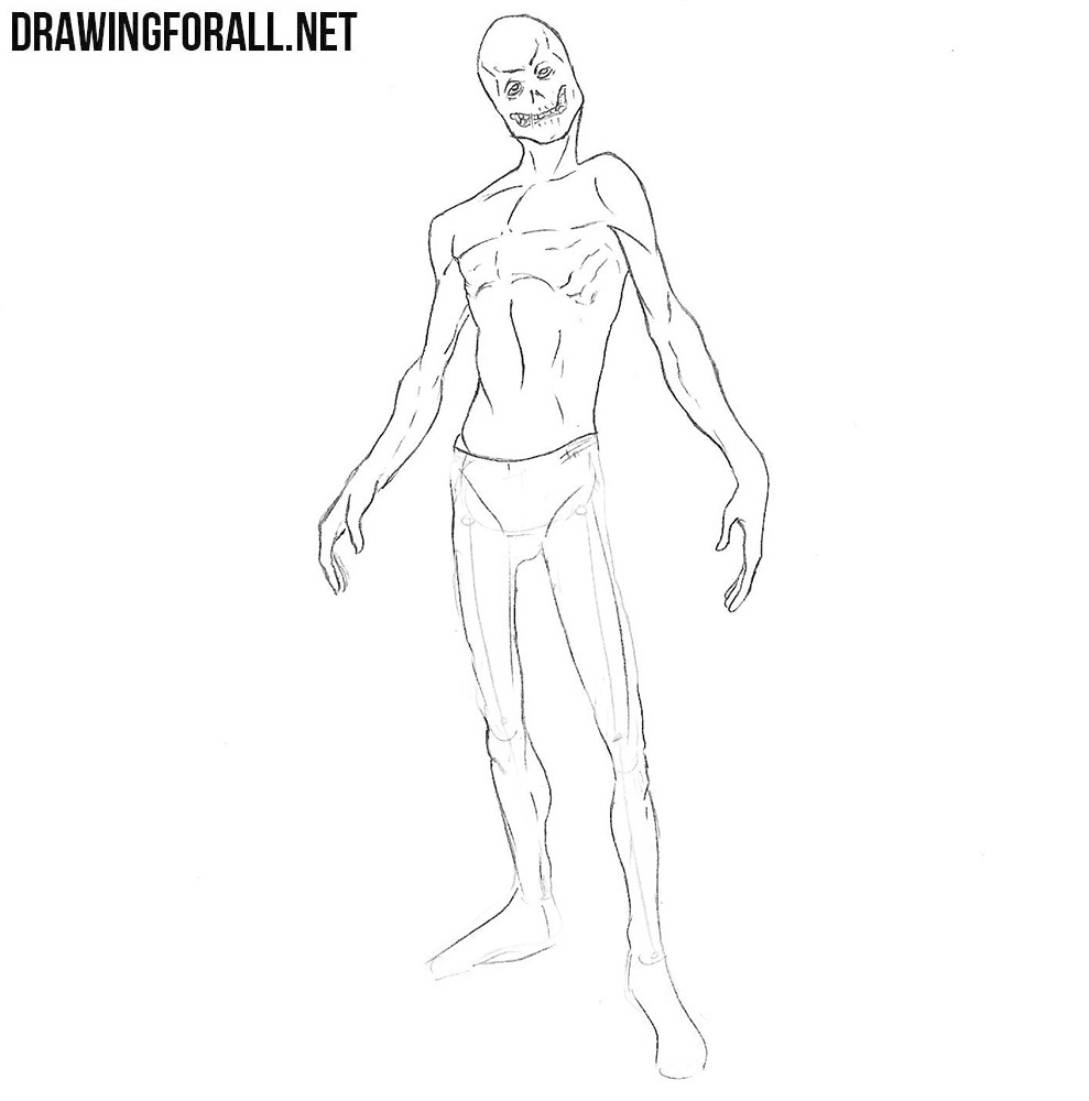 how to draw a ghoul step by step