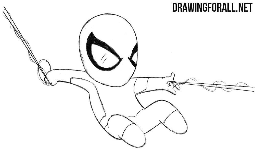How to Draw Cute Kawaii Spiderman