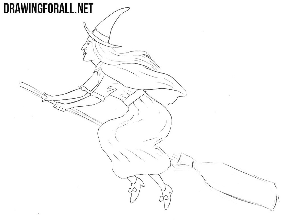 How to Draw a Witch step by step