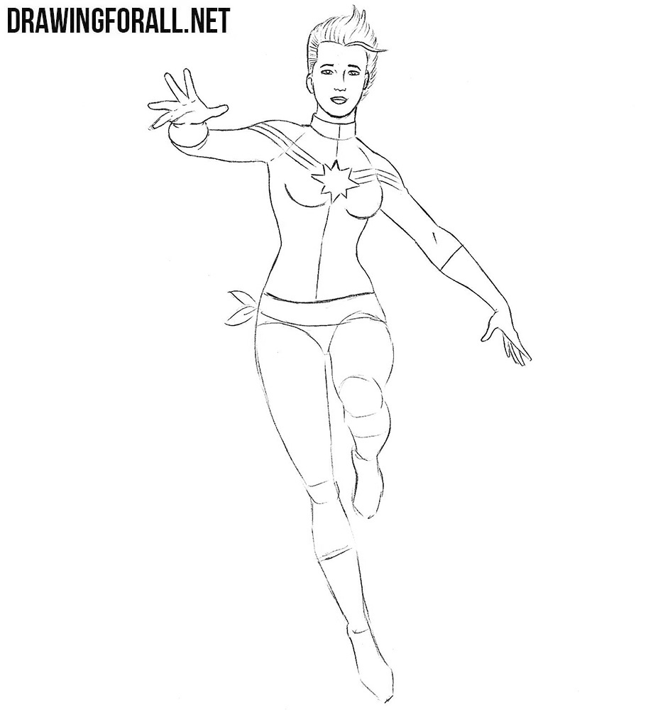 how to draw Captain Marvel step by step