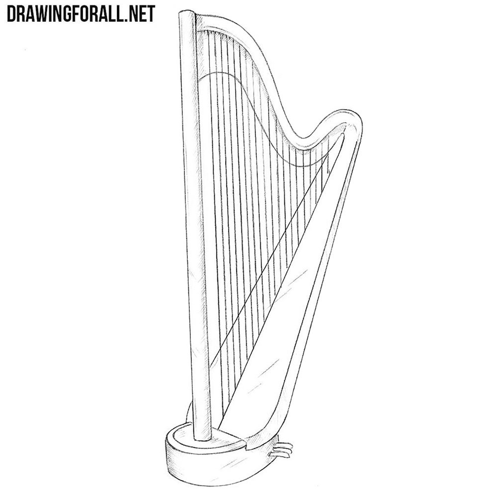how to draw a harp