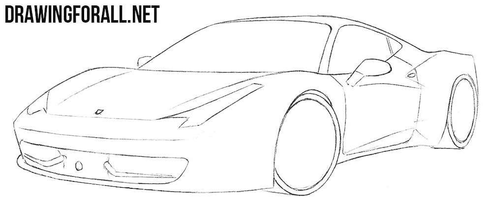 how to draw a Ferrari 458