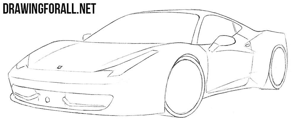 how to draw a Ferrari 458