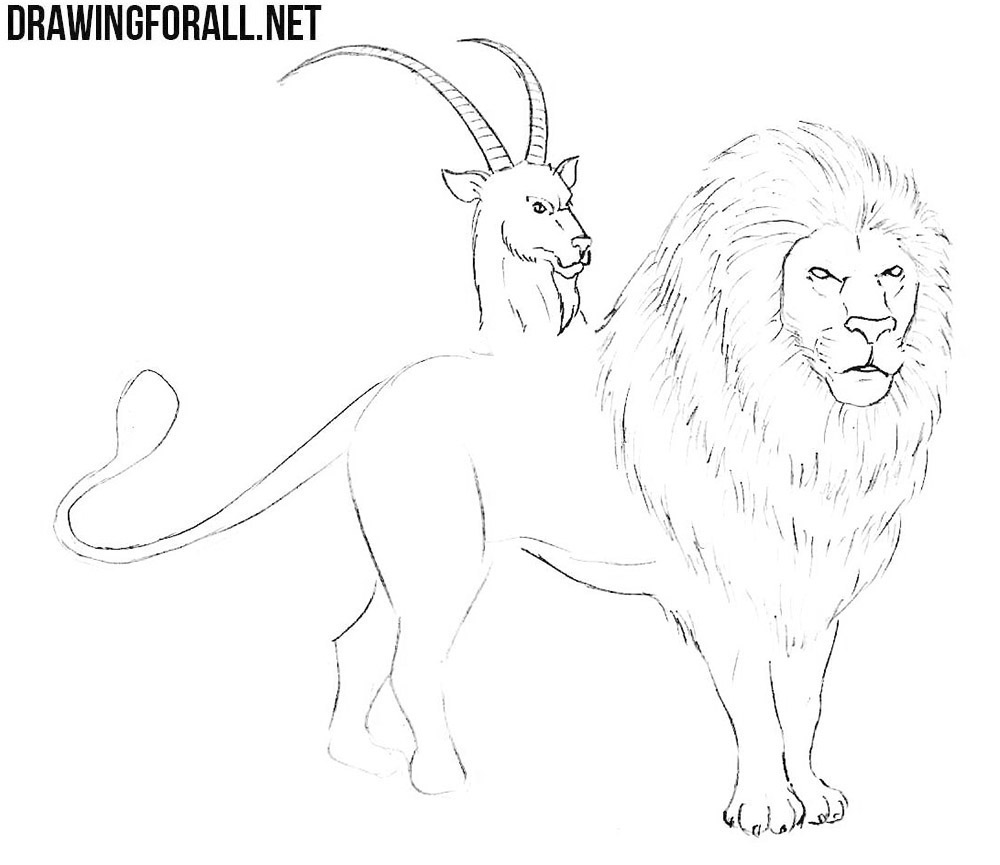 how to draw a chimera step by step