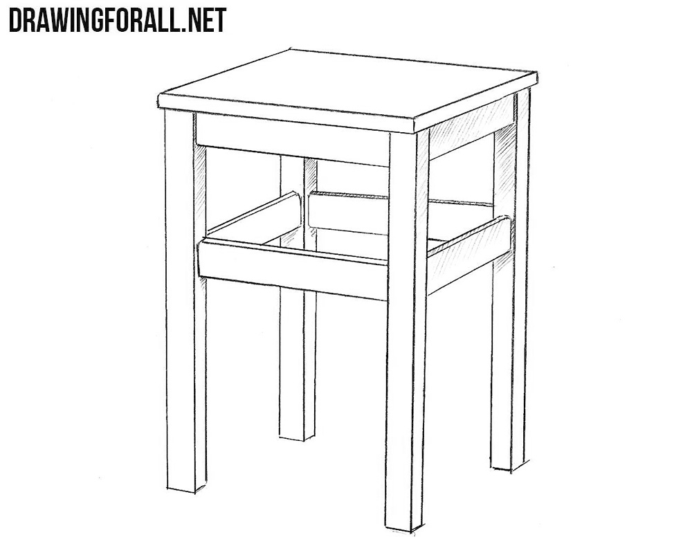 How to draw a realistic stool