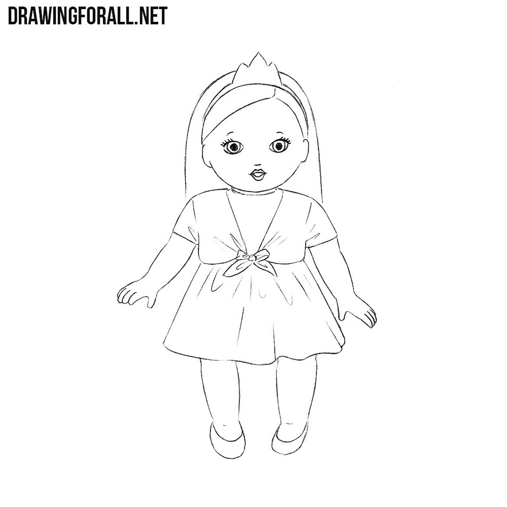 how to draw a doll drawingforallnet