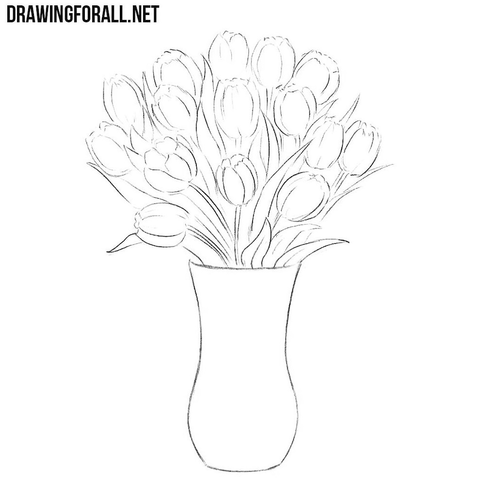 How To Draw Flowers In A Vase Drawingforallnet