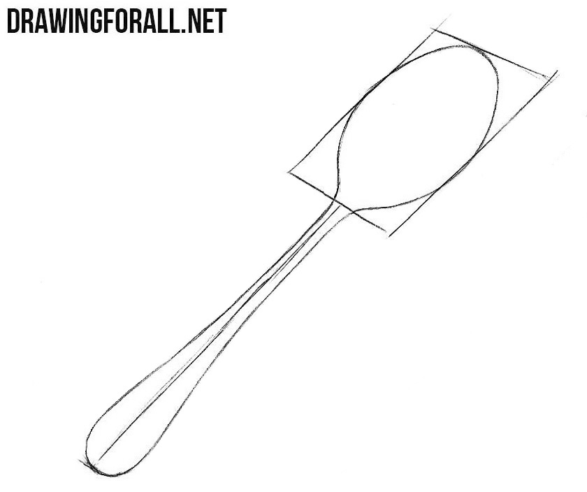 How to draw a spoon step by step