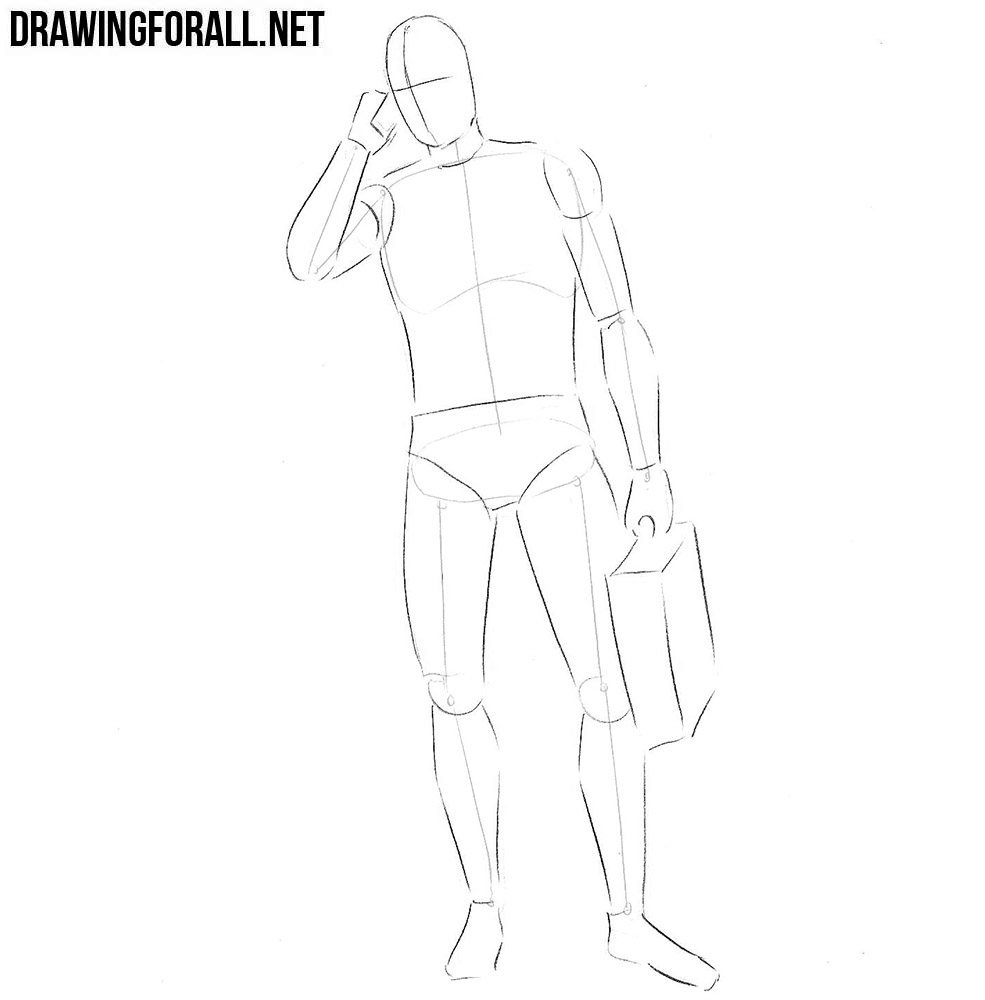 how to draw a businessman easy
