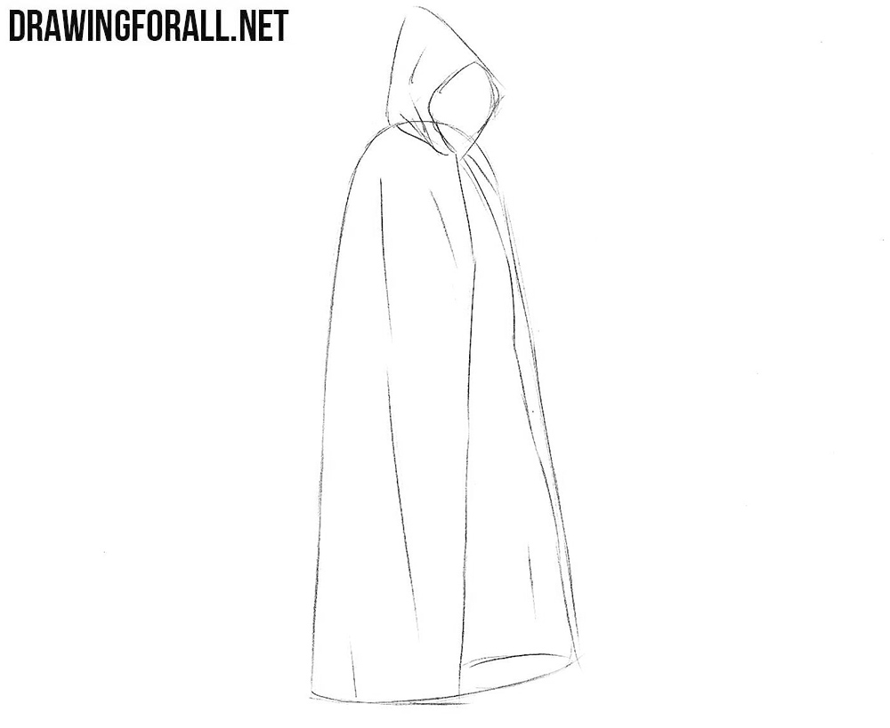 How to draw a cloak step by step