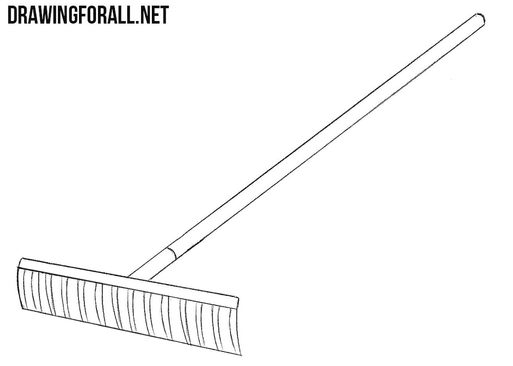 How to draw a rake step by step
