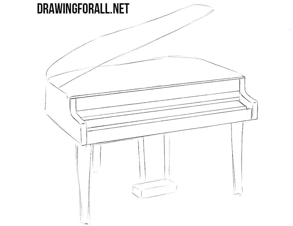 How to sketch a piano step by step