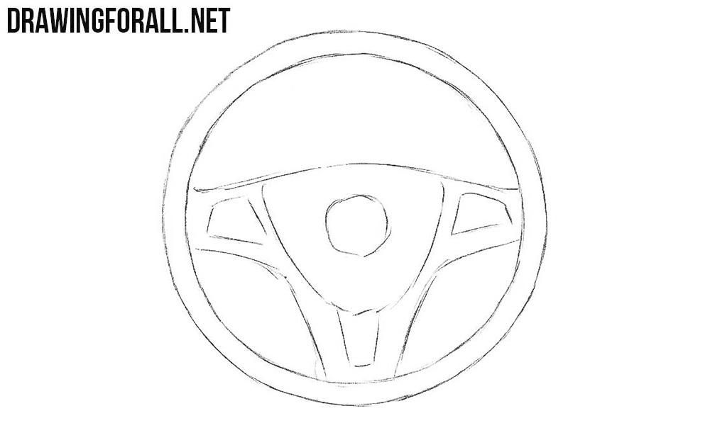how to draw a steering wheel