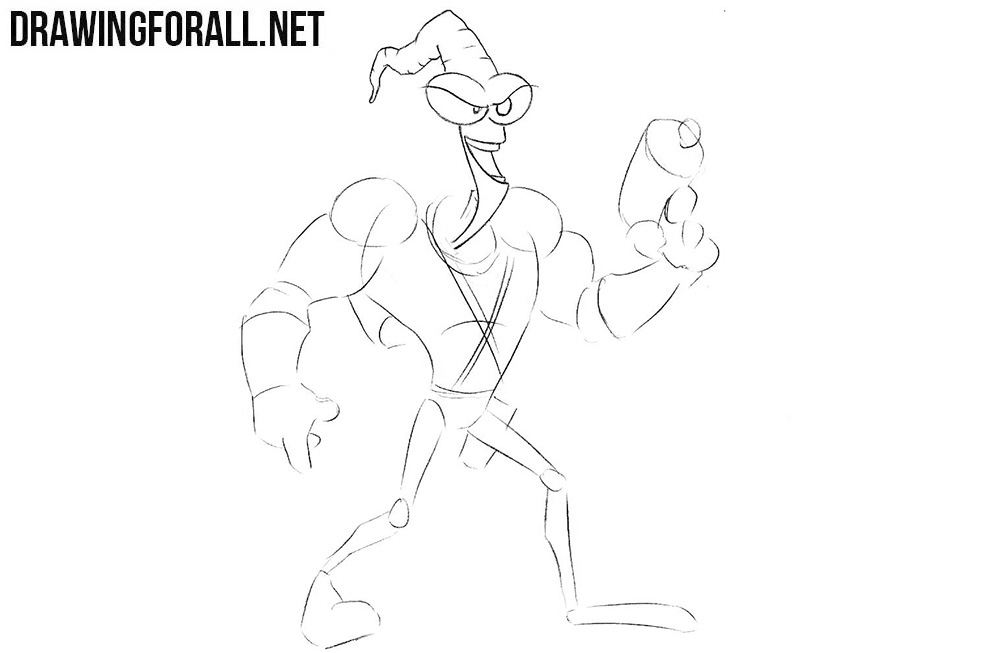 How to draw Earthworm Jim step by step