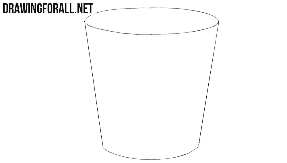 How to draw a bucket easy