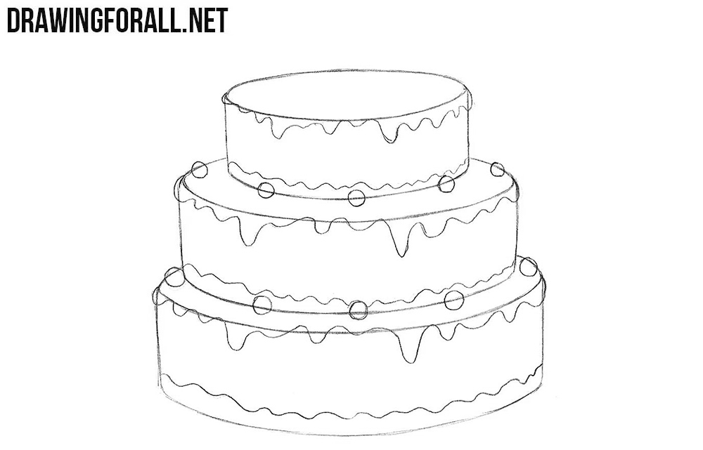 How to draw a cake step by step