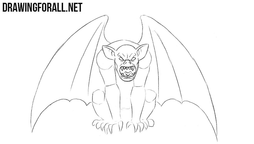 How to draw a gargoyle step by step