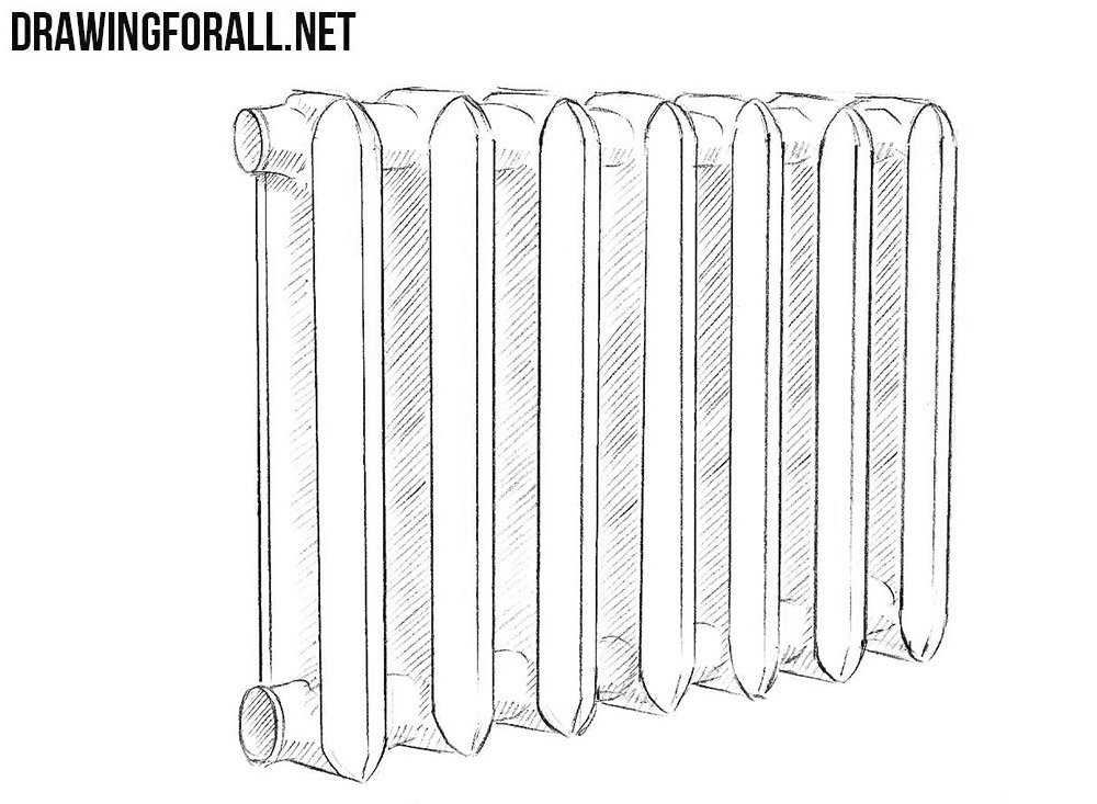 How to draw a heating radiator