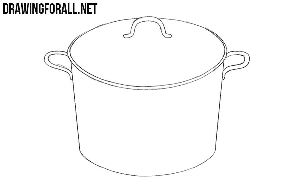 4 How to draw a saucepan step by step