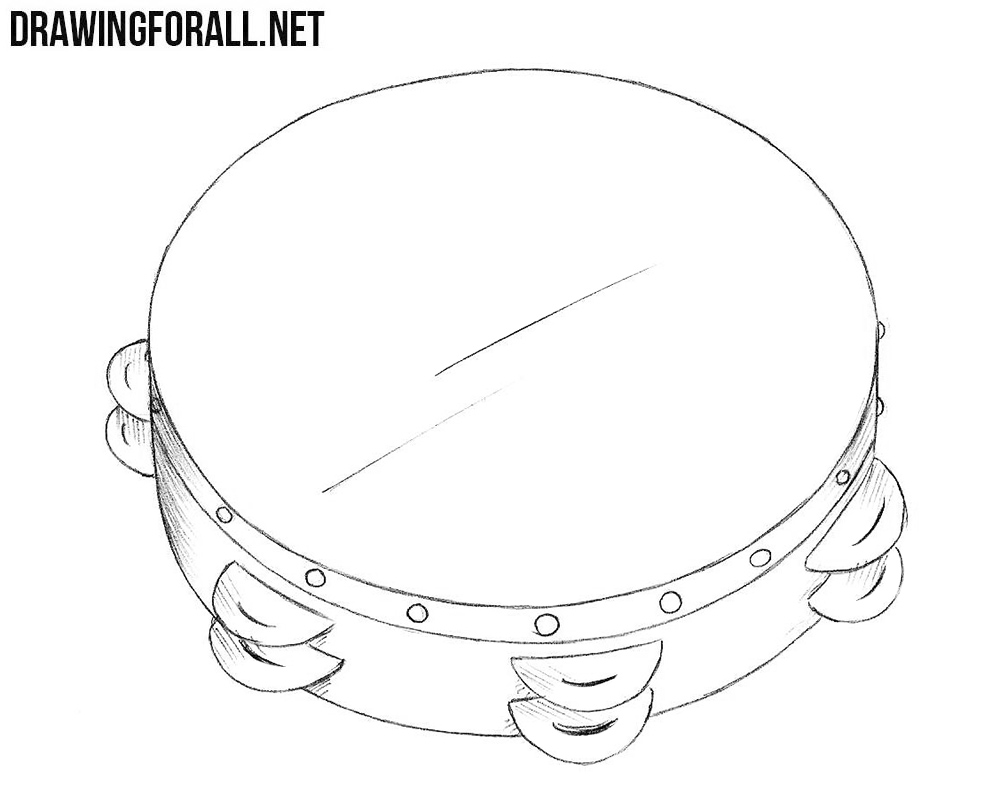 How to draw a tambourine