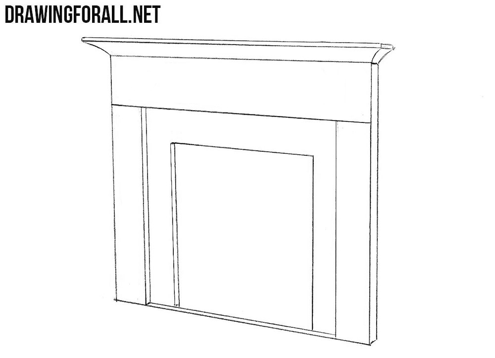 How to sketch a fireplace step by step