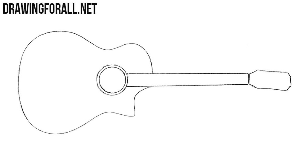 Learn how to draw a guitar step by step