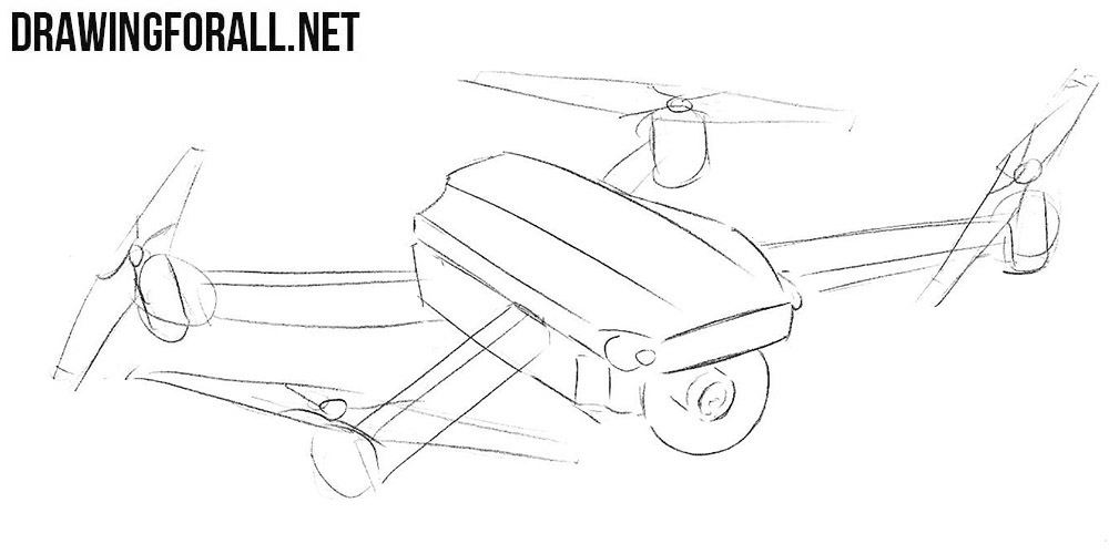 how to sketch a quadcopter step by step