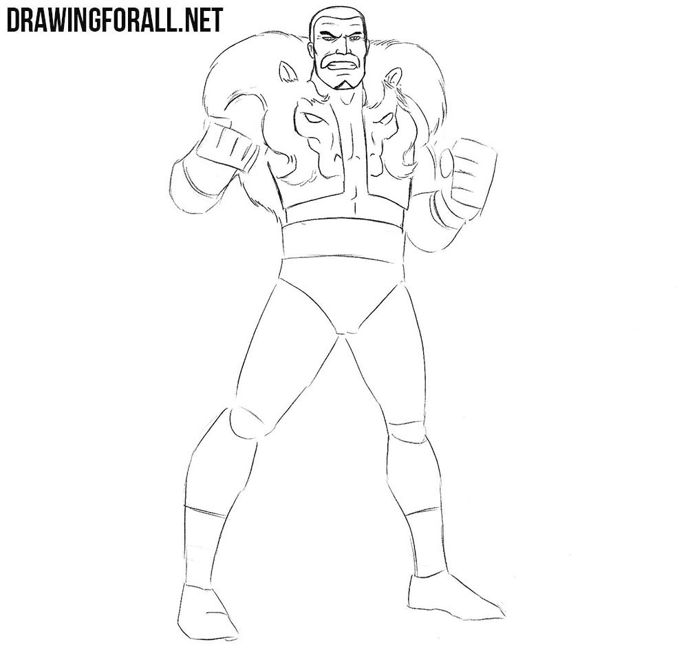 How to draw Kraven the Hunter step by step