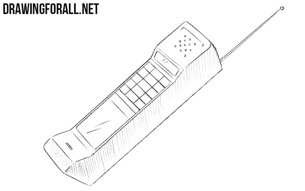 How to draw a phone from the 80s