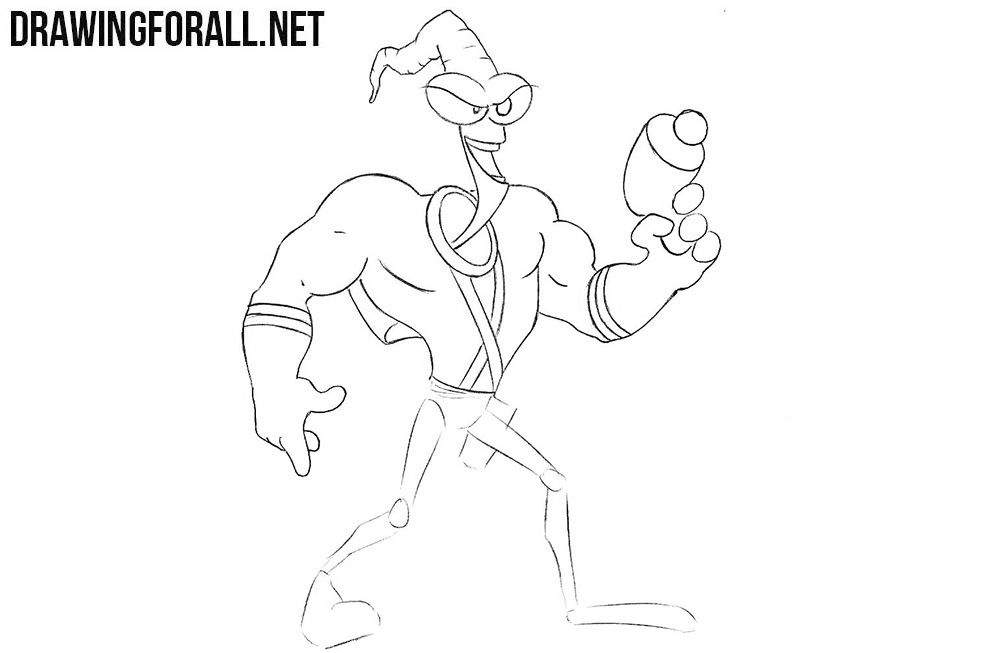 Learn to draw Earthworm Jim