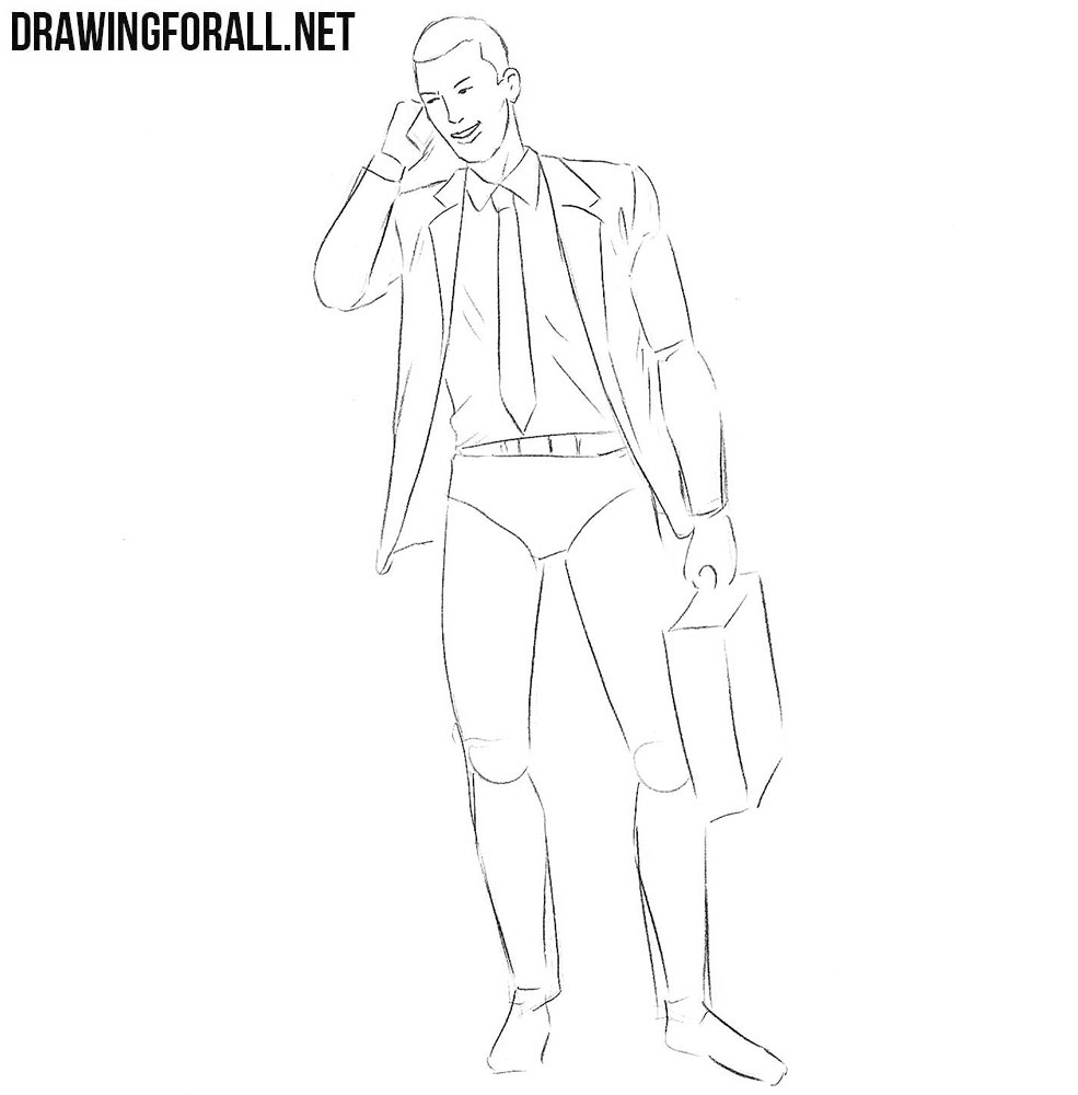 learn how to draw a businessman step by step