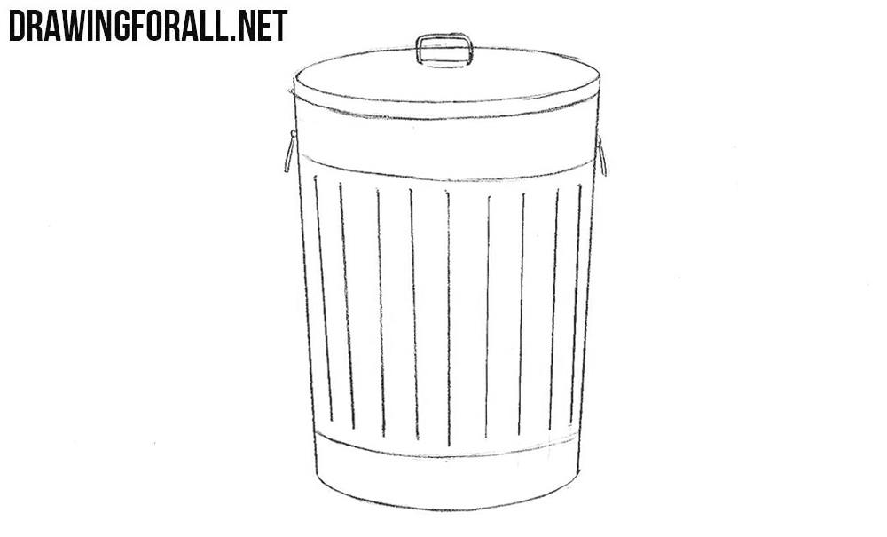 How to draw a trash bin