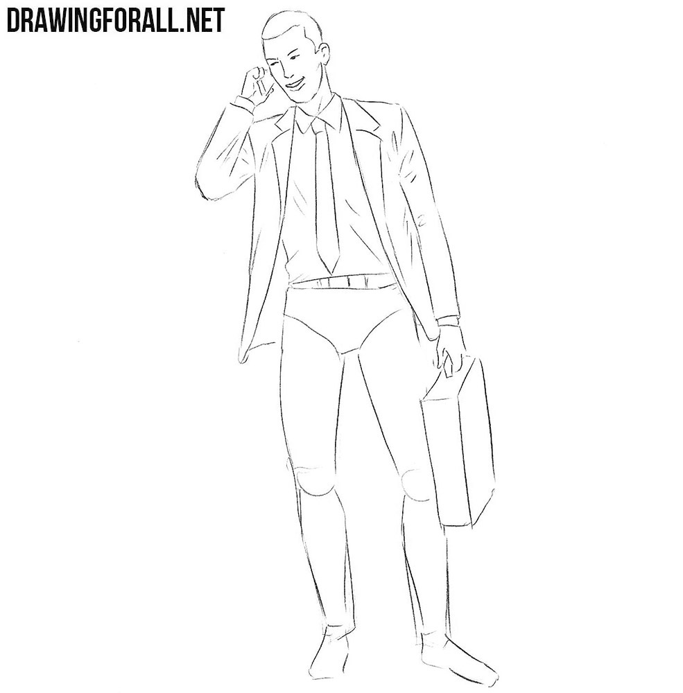 how to draw businessman step by step